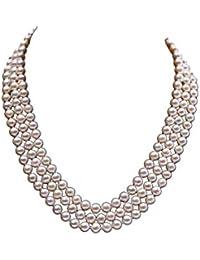 08b7af6be0e2 Jyx 3 fili di perle d  acqua dolce 6 – 6.5 mm bianco piatto collana
