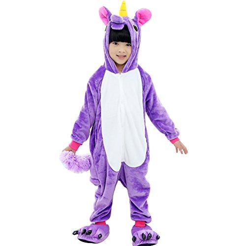 Tongchou Pyjama Combinaison Animaux Polaire Pour Enfant Deguisement Enfant Licorne Violet Taille 140