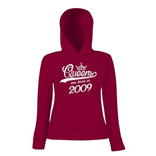 Queens are born in 2009 Premiumhoody   Geburtstags-Hoody   Jahrgang   8. Geburtstag   Frauen   Kapuzenpullover Dunkelrot