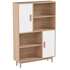 Homfa Kommode Sideboard Schrank Highboard Anrichte Bücherschrank Küchenschrank mit 2 Türen 4 Fächern helleiche 80 x 24 x…