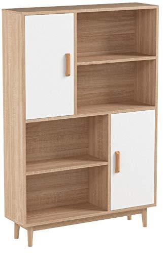 Homfa Kommode Sideboard Schrank Highboard Anrichte Bücherschrank Küchenschrank mit 2 Türen 4 Fächern dunkeleiche 80 x 24 x 119cm