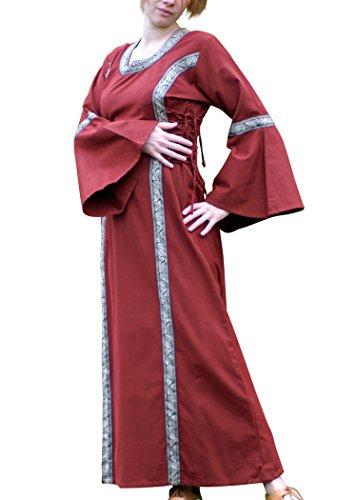 Battle-Merchant Mittelalter Kleid - Martha mit Bordüre, rot aus Baumwolle Wikinger, LARP, Mittelalterkleid Größe M