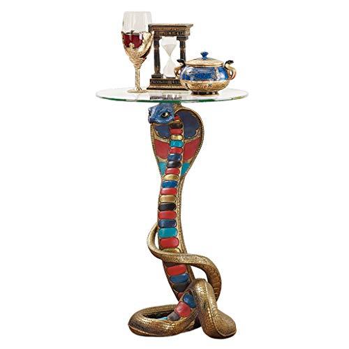 Design Toscano Renenutet, die ägyptische Kobragöttin, Beistelltisch mit Glasplatte (Foyer-tisch-set)