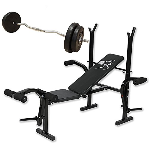 ArtSport 2in1 Hantelbank Set ProfiGym 1000 mit Hantelset | Trainingsbank klappbar mit Ablage + Curlhantel 30 kg mit Gewichten | Schrägbank Flachbank