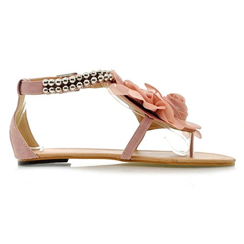 TAOFFEN Damen Roman Flach T-Spangen Thong Schuhe Flip-flops Sandalen Mit Blume Pink