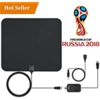 TV Aerial HDTV antenna Amplified Indoor TV Aerial 50 Miles Digital HDTV Indoor Antenna with Detachable Amplifier Signal Booster,Easy installment Paper-Thin and High Reception TV Aerial Indoor Black