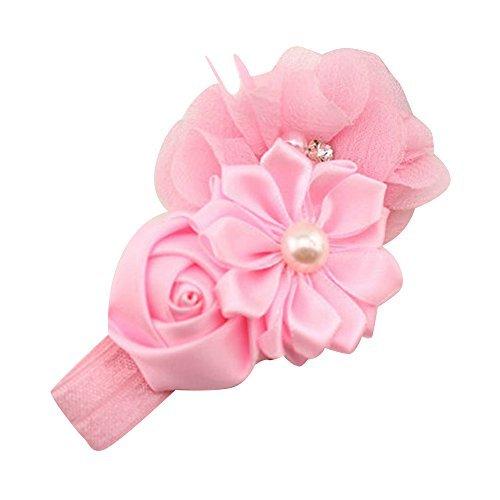 Flyyfree Baby Girl Headband Infant Chiffon Headdress Faux Pearl Hairband (Pink)