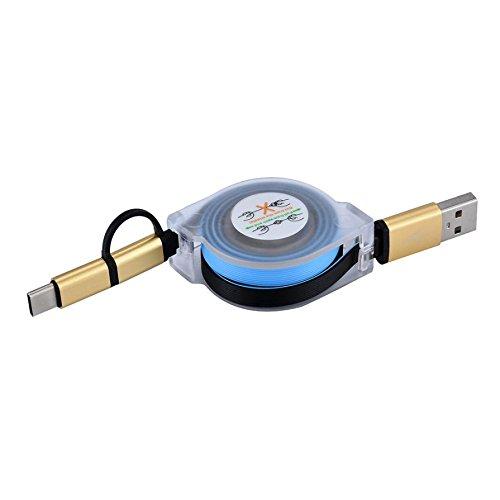 HOOUDO V8 Micro USB Typ C Combo Männlich Retractable Daten Ladekabel für ZTE Zmax Pro Z981/Samsung Galaxy S7 Rand (Blau)