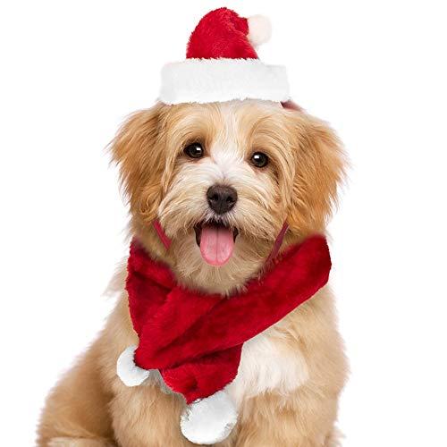 BAKAJI Christmas Set Sciarpa e Cappello Babbo Natale per Cani e Gatti di Piccola Taglia Rosso e Bianco