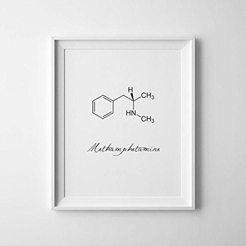 Metanfetamina impresión, MDMA impresiones, MDMA, de impresión de molécula ciencia impresión, Impresión símbolo química, Ecstacy Molecule, química arte, A3'