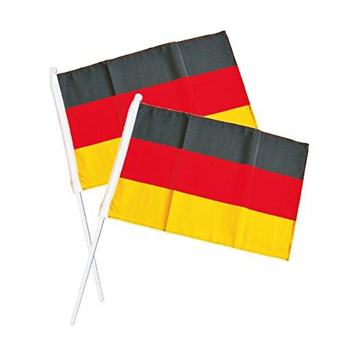 Colour-Bags Home & Living 10 Stück Fan-Fahne/Deutschland-Fahne zum Schwenken und Jubeln WM 2018,...