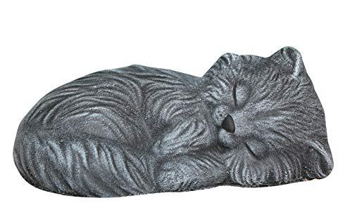 Statue en pierre chat endormi, gris ardoise, pierre reconstituée