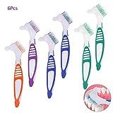 6 Pezzi Testa Denture Brush set, AUHOTA Premuim Spazzolino per Dentiera protesi, Spazzola per Denti finti per Pulizia -Setole Multistrato e Impugnatura Ergonomica (4 Colori)
