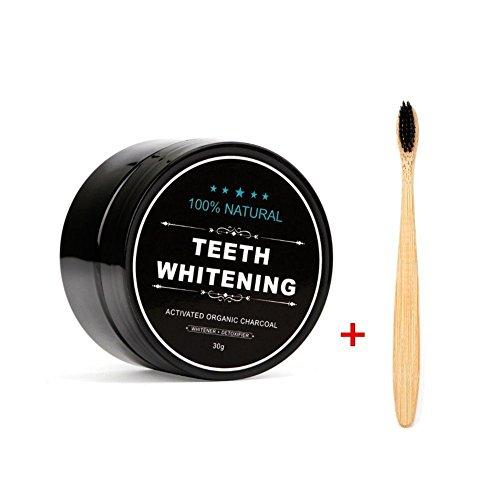 Teeth Whitening Powder, FOXTSPORT Natürliches Aktivkohle Zahnaufhellung Pulver mit Bambus Zahnbürste, 1.05 oz (Charcoal)