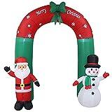 L&Z 240cm Weihnachtsdekoration Weihnachtsbeleuchtung LED Beleuchtung großer Torbogen Weihnachtsmann Schneemann aufblasbar hoch witterungsbeständig spritzwassergeschützt IP44 bunt