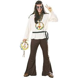 Costume Carnevale Travestimento Uomo Hippy Figli Dei Fiori Anni 60 - Uomo
