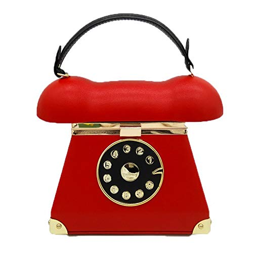 Zzyff Elegant Simulation Leder Weiblichen Beutel Vintage Retro Telefon Modell Cartoon Handtasche Tote Diagonal Umhängetasche Bankett Hochzeitsfeier Party Abendtasche Gute Qualität (Farbe : Red) (Modell Farbe Sealer)