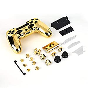 Heaviesk Full Housing Shell Hülle Skin Cover Button Set mit Full Buttons Mod Kit Ersatz für Playstation 4 PS4 Controller Gold Splitter