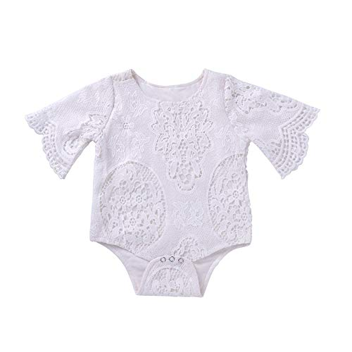 abab93f6625 FDBF Baby Girls Lace Bat Sleeve Toddler Bodysuit Romper Jumpsuit Outfits  Daily 90cm