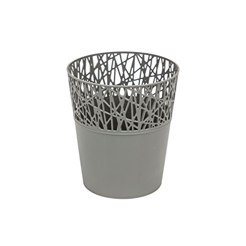 Rond cache-pot 14 cm CITY en plastique romantique style en gris