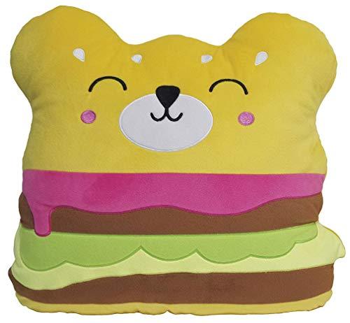 iscream Fleecekissen mit Kawaii-Duft, Bestickt Mini Size Bear Burger - Gestickte Dekorative Kissen Sham