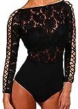 Aranmei Damen Jumpsuit Lingerie Bodycon Bodysuit Lingerie Langarm Unterwäsche Outfit Netzeinsatz Netz Top Overalls