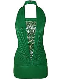 Mix lot schöne neue Damen Neckholder Pailletten Top Frauen seidig weichen Stoff sexy unteren Rücken Vereinkleid Partei zu tragen Größe 36-46 (S/M 36-38, grün)