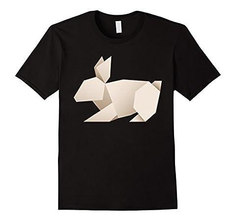Men's Origami Rabbit Bunny T-Shirt Large Black