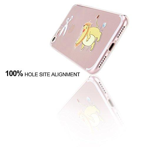 iPhone 7 Hülle, APICI Transparent TPU Case Silikon Tasche Hülle Silicon Protector Schutzhülle Handyhülle mit Schmetterling-Mädchen für iPhone 7(Schmetterling-Mädchen) Löwe
