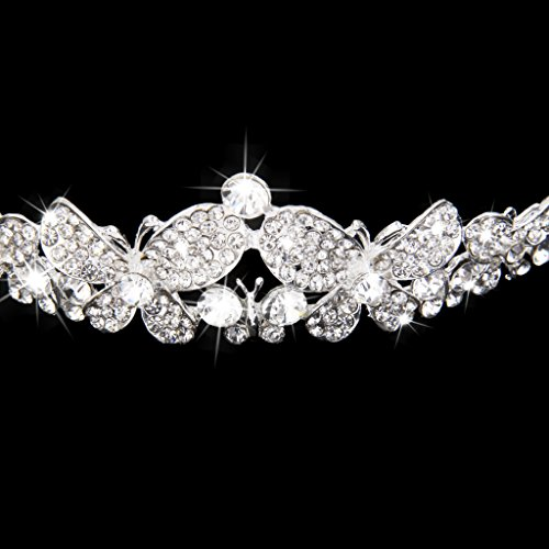 Boda Impresionante Tiara Cristalina Nupcial Corona Mariposa Rhinestone Diadema