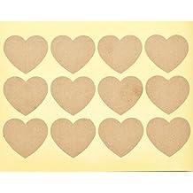 60 x Plain Kraft Heart Stickers Blank DIY Sticky Labels