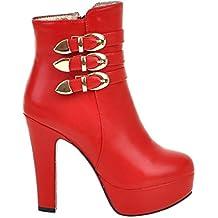 SHOWHOW Damen Strass Erhöhung Kurzschaft Stiefel Mit Anhänger Rot 34 EU o6CuC