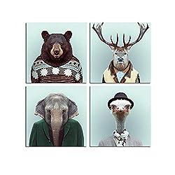 HUIGEFANBUHUA Bär Leinwand Kunst Tier Dekorative Bilder Hirsch Poster Retro Elefanten Wand Weihnachtsbilder Für Wohnkultur-50x50 cm Kein Rahmen