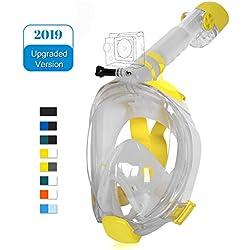 Unigear Masque de Plongée, Masque Snorkeling Plein Visage 180° Visible, Antibuée Anti-Fuite sous-Marine, 2019 Nouveau Version Snorkel Masque avec la Support pour Caméra de Sport (Jaune-Blanc, S/M)
