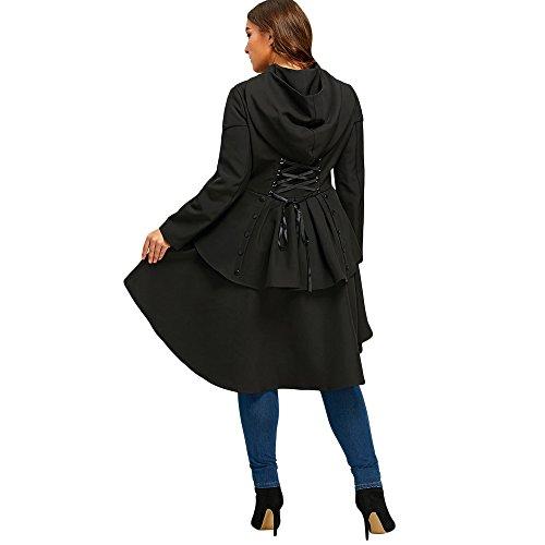 CharMma Damen Übergröße Herbst Mantel Asymmetrisch Hem Lace Up Slim Trenchcoat (48, Schwarz)