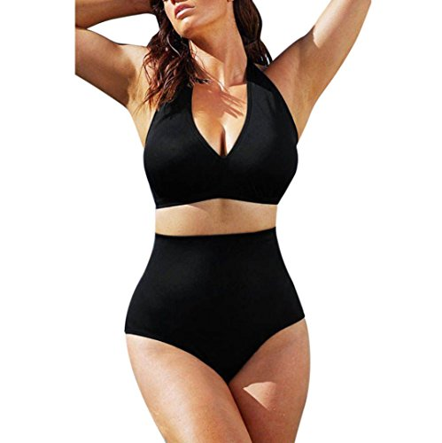 Transer Bikini-Sets Damen Neckholder Push-Up High Waist Gepolsterte BH Einfarbig Badeanzug Zweiteilig Bademode Gr. 38-44 (EU 38(L), Schwarz) (Bikini Up Pin Set Waist High)