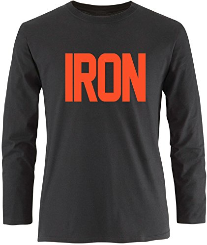 EZYshirt® Iron Herren Longsleeve Schwarz/Orange