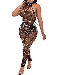 9049738426c Romacci Sexy Women Jumpsuit Sequin Bling Bling Halter Neck Sleeveless  Backless Night Club Romper Overalls Golden