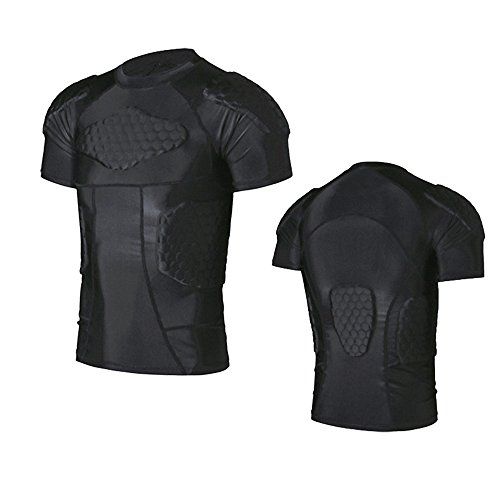 R & V Herren Sport Kleidung Schock Rash Guard Kompression Gepolsterte Schutz T-Shirt Hose Anzug für Fußball Basketball Parkour Training, T-shirt (Herren-basketball Drake -)