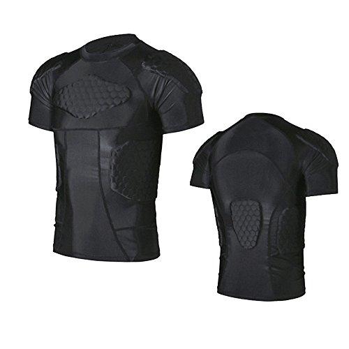 Sleeve Football Tee (R & V Herren Sport Kleidung Schock Rash Guard Kompression Gepolsterte Schutz T-Shirt Hose Anzug für Fußball Basketball Parkour Training, T-shirt)