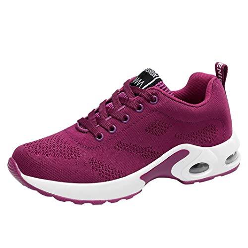 UOMOGO 6 Sneaker Donna, Scarpe Donna da Ginnastica Running Sports Sneaker da Fitness Allacciare Maglia Nero Viola Rosso e Ros