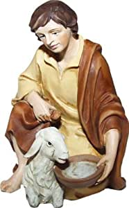 Pastore inginocchiato, adatto per le figure da 12 cm, colorata a mano
