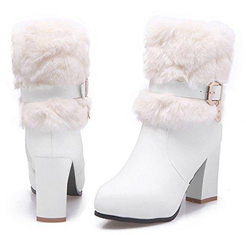 YE Damen Blockabsatz Spitze High Heels Plateau Stiefeletten mit Fell warm Gefüttert Schnallen Reißverschluss 8cm Absatz Winterstiefel Weiß