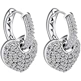 Yellow Chimes Crystals from Swarovski Heart in Hoop Platinum Plated Two Way Crystal Earrings for Women and Girls