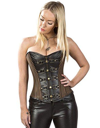 Burleska Donna Steampunk corsetto-Gemini gotico bustino/corsetto marrone marrone 52