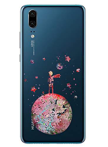 Alsoar Compatible pour Coque Huawei P20 Étui Liquid Crystal Ultra Mince Transparent TPU Silicone Housse Protection Bumper Souple Mignon Modèle Anti-Rayures Case (Petit Prince)
