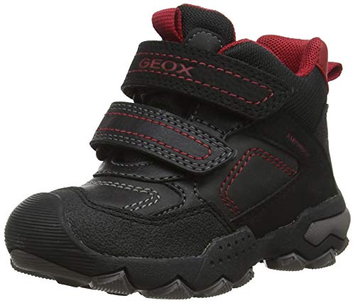 Geox Jungen J BULLER Boy B ABX E Hohe Sneaker, Schwarz (Black/Dk Red C0260), 28 EU