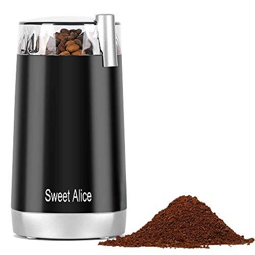 RsvpD Kaffeemühle 150W Elektrische Kaffeemühle Kaffeebohnen Nüsse Gewürze Getreide Mühle mit Edelstahlmesser 45g Fassungsvermögen (schwarz)
