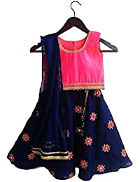 d52628375a8679 Peppy Palette s Girl s Navy Blue and Pink Chanderi Silk Lehenga Choli Set  for Kids (2