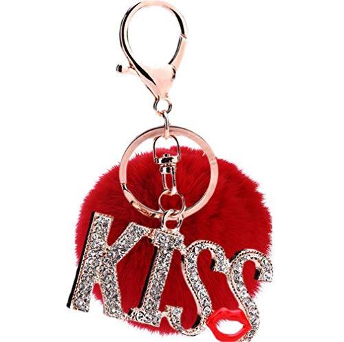 Strass Kiss (Keychain Elegant Plüsch-Kugel Schlüsselanhänger plüsch ball Taschenanhänger Strass Bommel Auto-Anhänger Pompom Weich Schlüsselring Mode KISS mit Strass Lippen (Rot))